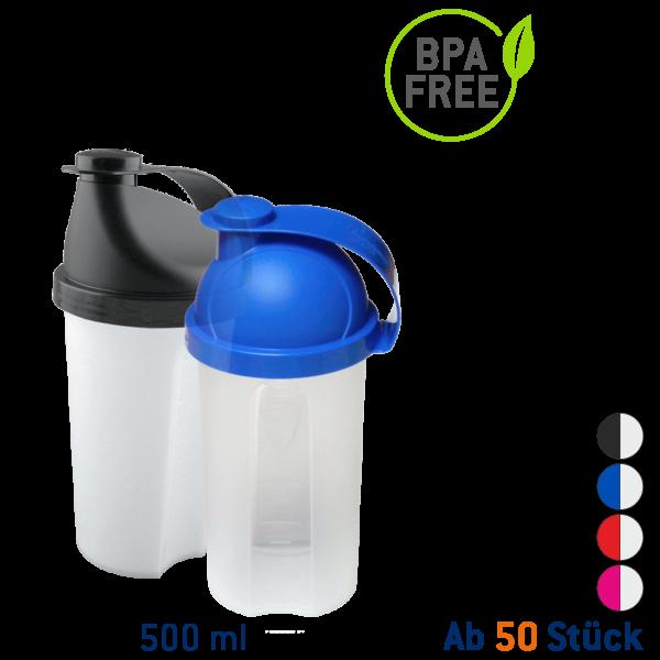 Shaker 500 ml transparent incl. Quirlscheibe und Messkala