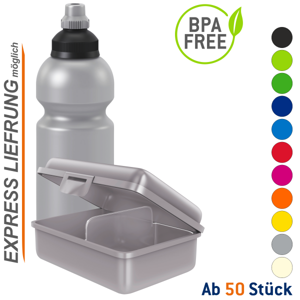 Set Premium Trinkflasche 600ml & Brotdose Uno