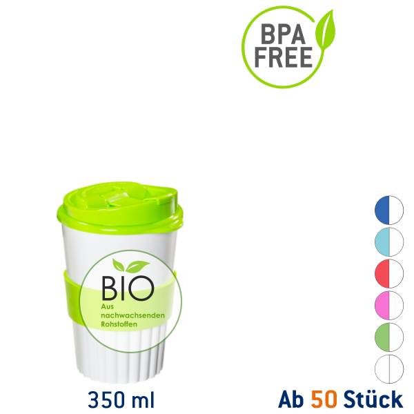 Bio Coffee to go Becher 350 ml weiß